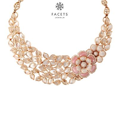 18k Rose Gold Necklace with Pearl & Diamonds